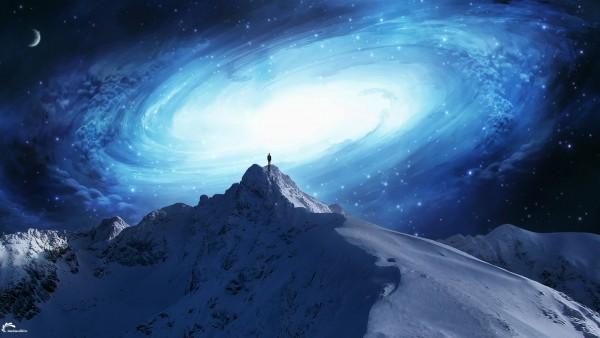 Небо, звезды, космос, горы, снег, ночь, сияние