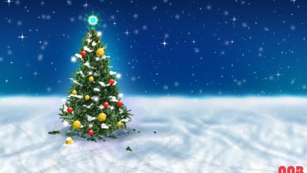 Рождественская елка Снег небо HD заставки