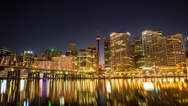 Дарлинг-Харбор, Сидней, Австралия, ночь, город