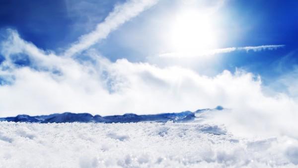 Солнечный Снег, зима, солнце, гора, небо