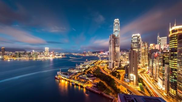 Гонконг, гавани, ночные огни, огоньки, ночь, город