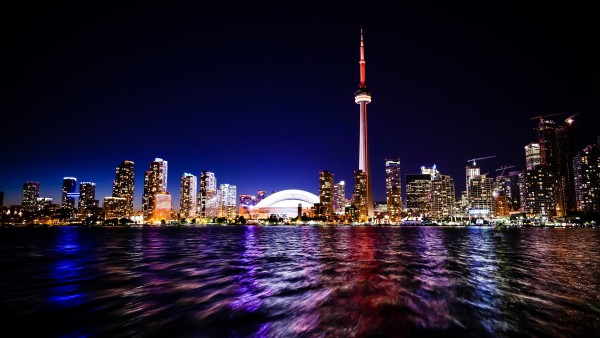 Toronto Nightscape, HD, Канада, Торонто, Центр города, Skyline, Ночь
