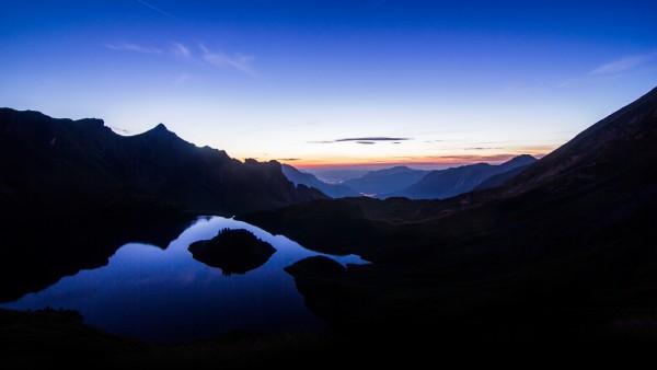 Отражение заката, небо, горы, ночь, природа, холмы