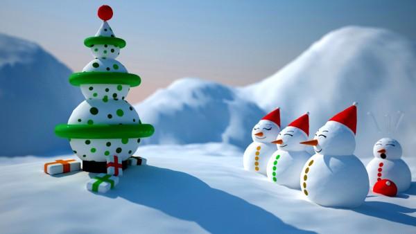 Снеговики, елка, улыбка, праздник, подарки, Новый год, Рождество, снег, настроение