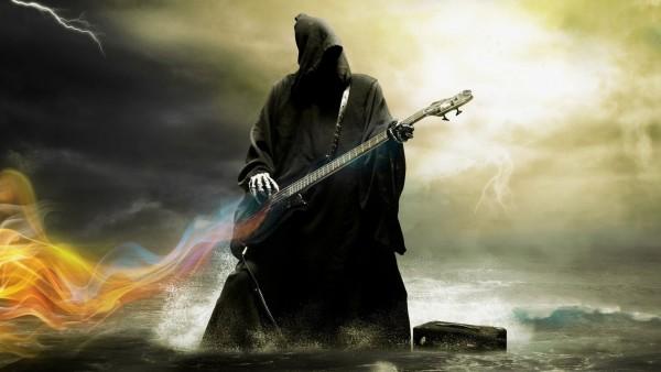 Смерть, дьявол, гитара, юмор, музыка, небо, смерть с гитарой, обои