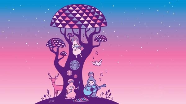 Маленькие существа поют под деревом