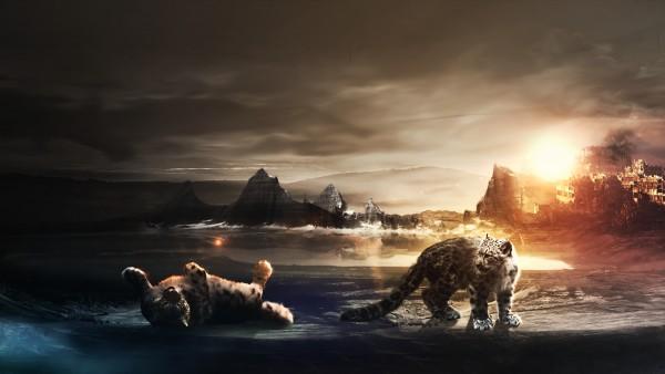 снежный барс HD, Ирбис, снежный леопард, хищники, рассвет, 3D игра животных, закат
