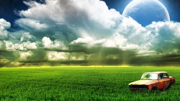 Ферма, Старый автомобиль, Луна, Облака, HD, 3d