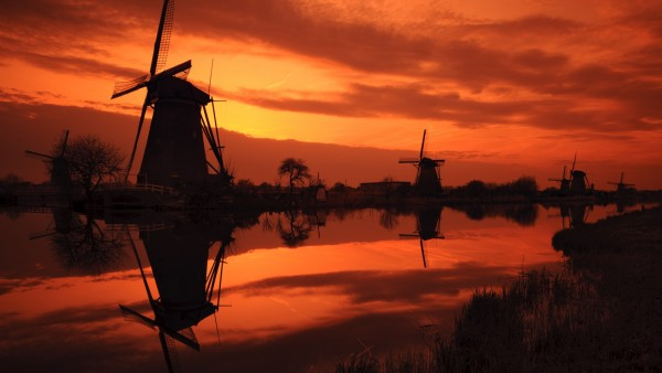 Заход солнца, Киндердейк, Нидерланды, закат, река, мельница