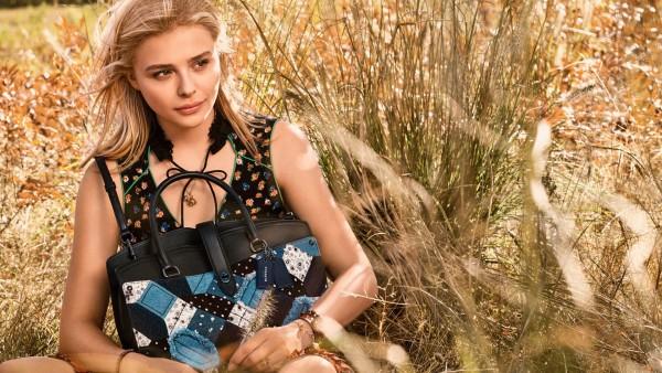 Хлоя Мориц, Chloe Moretz, сумочка, поле, блондинка, платье
