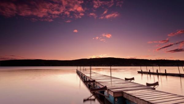 розовый восход, утро, пирс, небо, облока