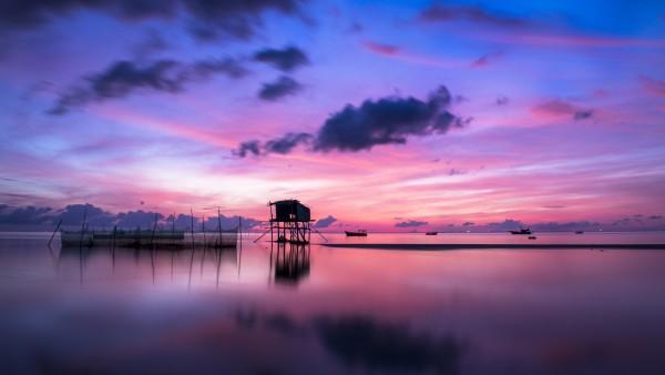 остров, восход солнца, море, небо
