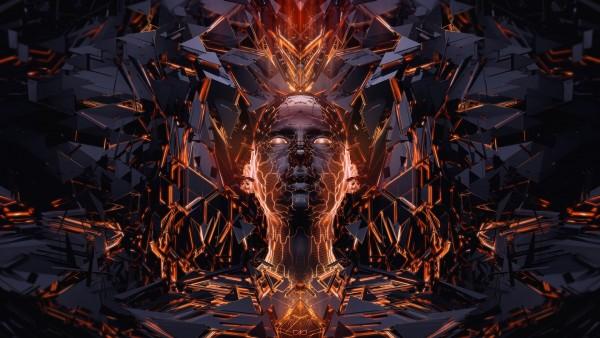 3Д обои, лицо, 3D, огонь, графика, digital, face, wallpaper