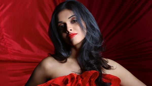 Красивая индийская девушка на красном фоне обои HD