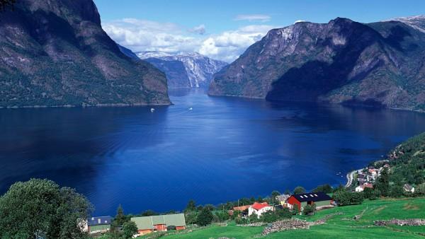 панорама Эурланнфьорд Норвегия обои HD