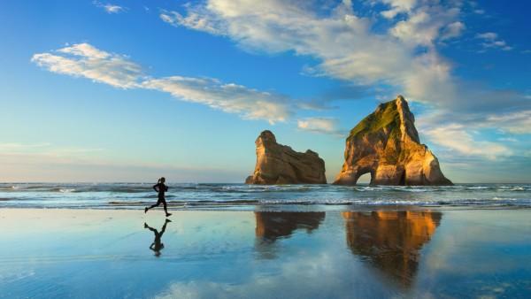 пляж, закат, йога