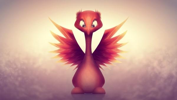 Маленькая птичка, огненная птица, крылья, глаза, милашка обои