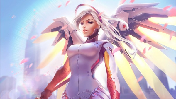 История героев, Overwatch, Ангел, Mercy, крылья, небо, 4K, Ultra HD, 3840x2160 обои
