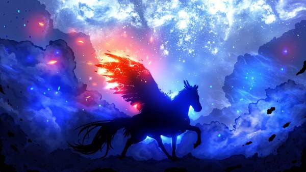 Хранитель Звезд, звезды, космос, лошадь, крылья, небо, фон, голубой, туманность, облока