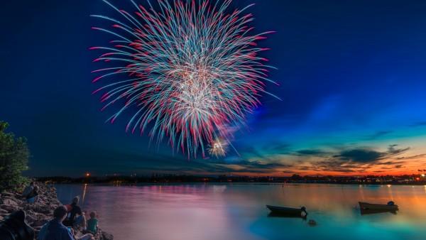 фейерверк, торжества, салют, ночь, море, набережная, праздник, вечер