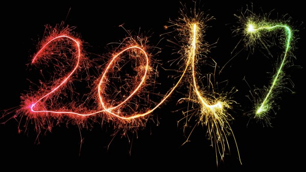 New Year, 2017, Новый год, фейерверк, фон, праздник, цифры обои