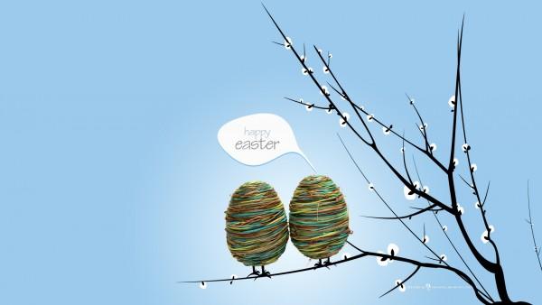 happy, Easter, праздник, яйца, Пасха, небо, ветка фото