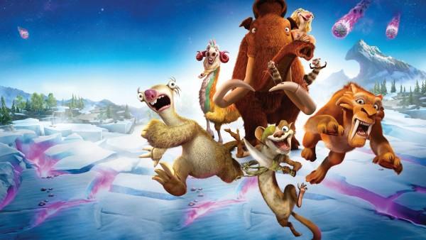 лава, Ледниковый период, мультфильм, Мэнни, Сид, Диего, Элли, Крэш, Эдди, астероид, снег, ленивец