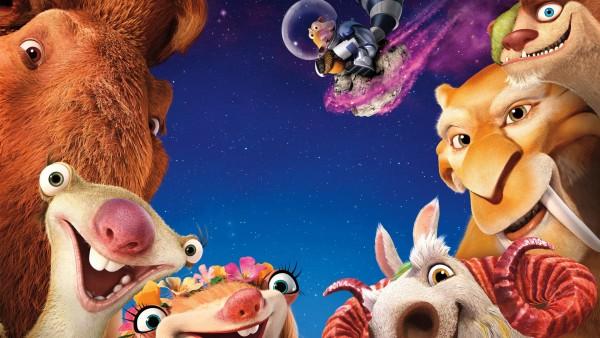 Ледниковый период, мультфильм, Мэнни, Сид, Диего, Элли, Крэш, Эдди, астероид, снег, ленивец, белка, космос, жолудь