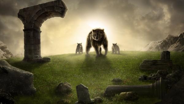 король, медведь, медвежата, горы, статуи, вечер широкоформатные обои