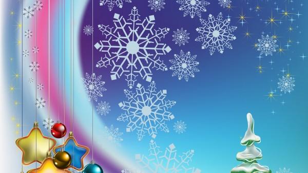 Новый год, фон, снежинки, украшения, игрушки, звёзды, шарики, графика, звезды, рождество, шары