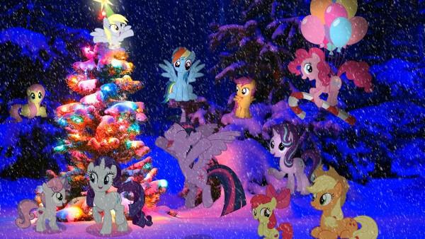 Рейнбоу Деш, пони-пегас, воздушный шар, рождество, новогодняя елка, милашка, знак, крестоносцев, Дерпи копыт, Дерпи звезда, Флаттершай, групп�