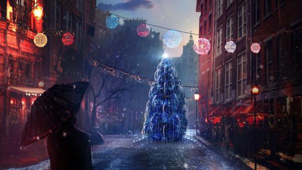 гирлянда, Новый год, украшение, елка, New Year, gifts, игрушки, decoration, Рождество, город, человек, огни, праздник, ночь, город, сочельник, зонтик