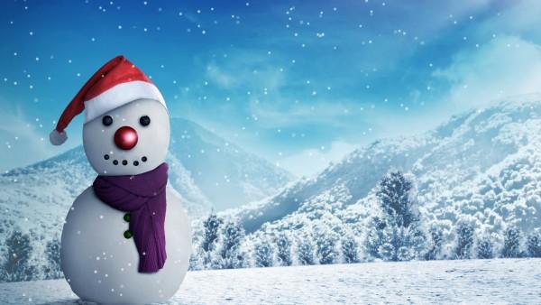 снеговик, деревья, зима, снег, горы, рендеринг, лес, пейзаж, Новый год, шарф, 3D, поляна, шапка, снежинки, снеговичок, рождество