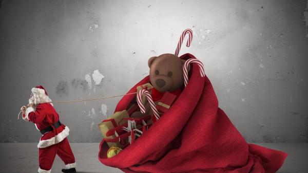 дед мороз тащит огромный красный мешок игрушки с подарками широкоформатные обои HD