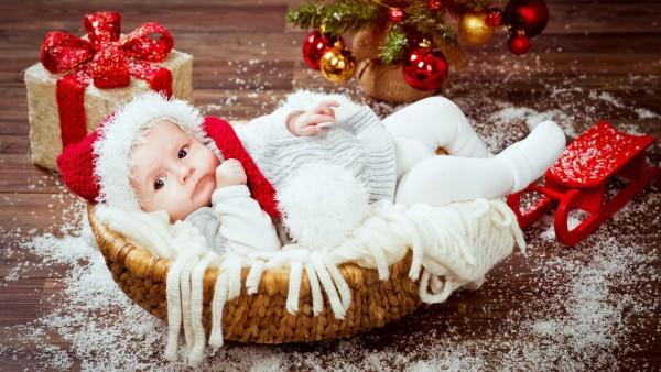 ребенок, новый год, рождество, младенец, дети, малыш, праздник, HD обои, фото