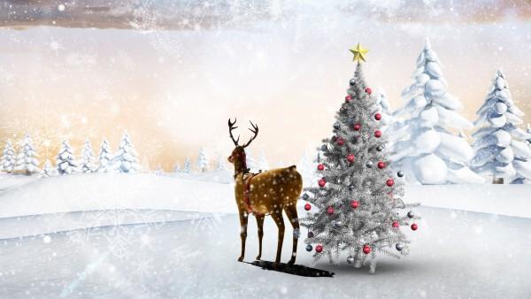 лес, звезда, шары, новый год, олень, поляна, снежинки, рендер, ёлка, деревья, игрушки, зима, снег, праздник, сугробы