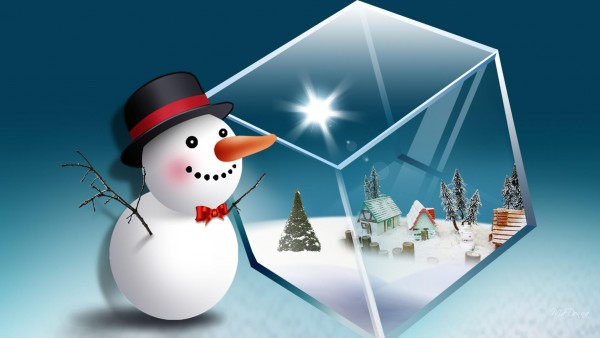 Снеговик в шляпе с кубиком