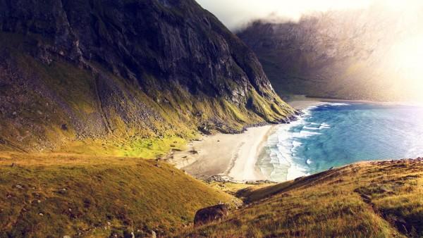 побережье, горы, морское побережье, морской берег, море обои HD
