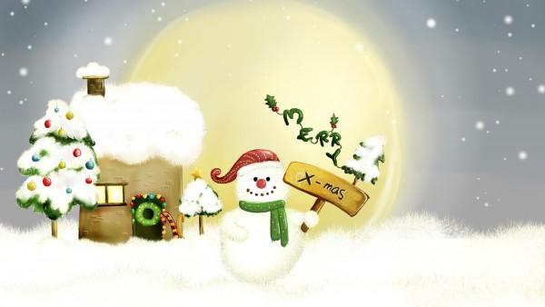 Улыбающийся снеговичок зимой на праздники обои