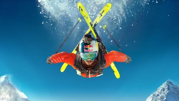 крутые лыжи, небо, горные лыжи, Red Bull, Ред Булл, экстримал, спорт, обои, HD