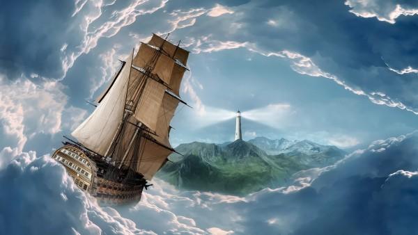 маяк, шторм, парусник, флот, путешествие обои HD