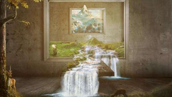 Водопад из картины обои 3D