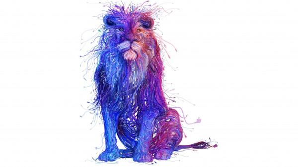 Цветной лев арт обои 4k 3840x2160 для стола абстрактные