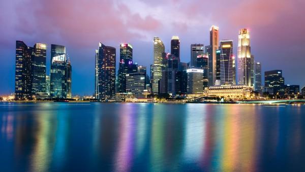 Сингапур, ночь, горизонт, город, небоскребы, закат, огни