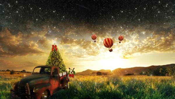 3D воздушные шары и новогодняя елка на природе