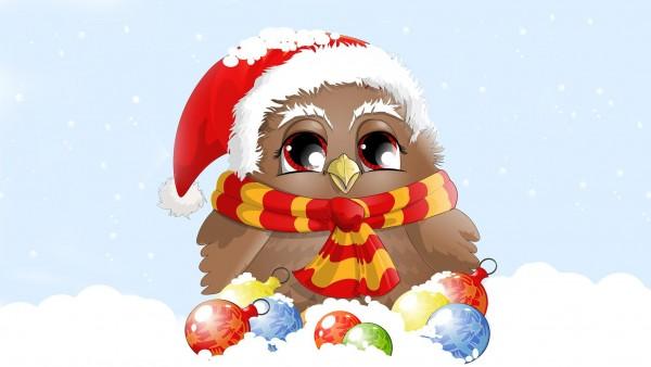 Новогодняя сова с новогодней атмосферой