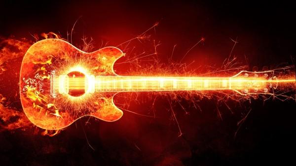 fire guitar, огненная гитара, музыка, креативные обои