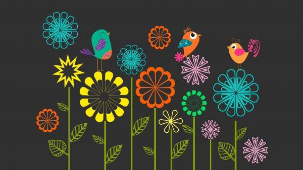 красочные, векторные, цветы, птиц, фото, 3840x2160, 4K, обои