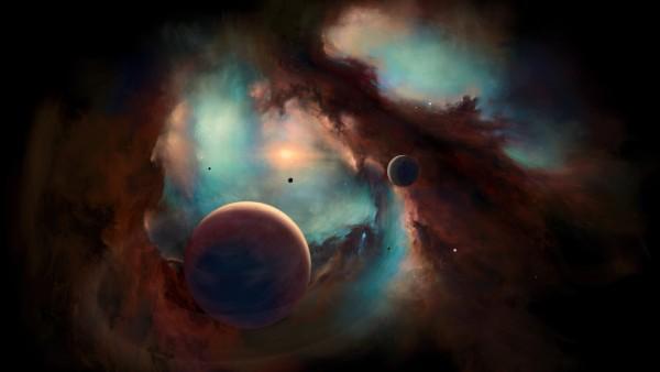 3840x2160, 4K обои, космос, арт картинки, туманности, планеты, звезды