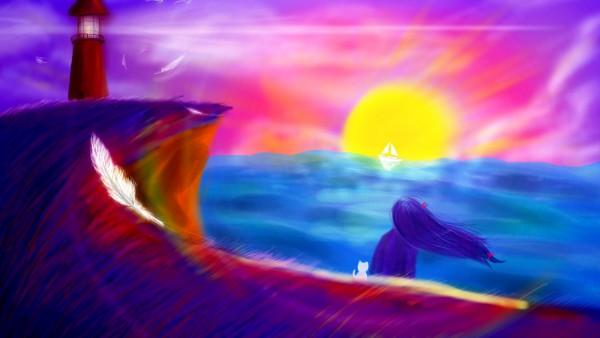 жду тебя, 4K, 3840x2160, текстура, рисованные обои, пейзаж, солнце, море, пляж